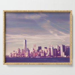 New York City Skyline Waterfront Serving Tray