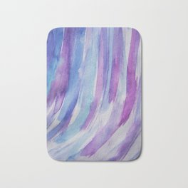 blue, turquoise, purple curved stripes. acrylic abstraction Bath Mat