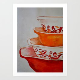 Friendship and Americana Vintage Orange Pyrex Art Print