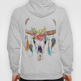 Floral and Feathers Adorned Bull Skull Hoody