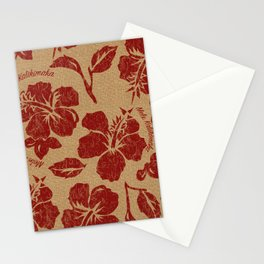 Mele Kalikimaka Vintage Pareau Hawaiian Hibiscus  Stationery Cards