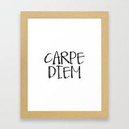 Carpe Diem Print, Black Poster, Inspirational Art, Horizontal Print, Vertical Print, Quote Poster Framed Art Print