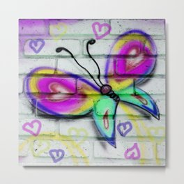 Butterflies and Bricks Metal Print