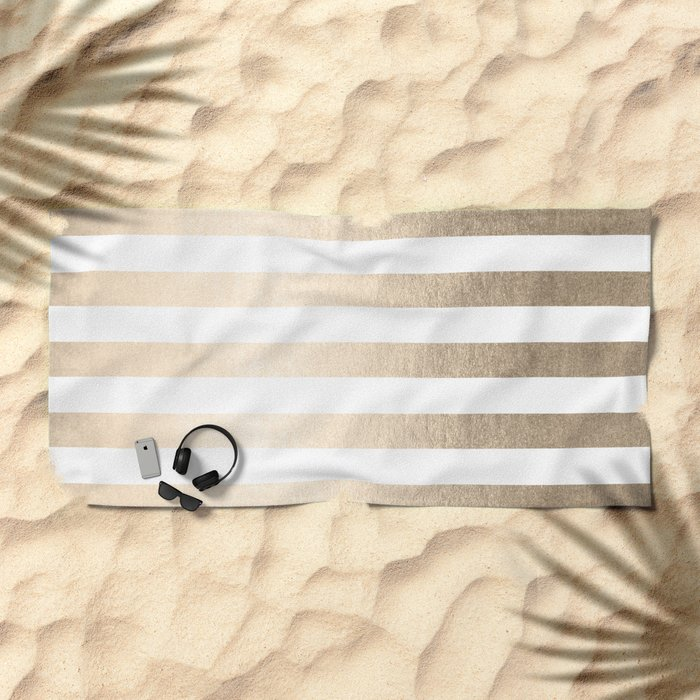 Simply Striped in White Gold Sands Beach Towel
