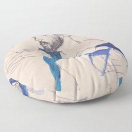 """Egon Schiele """"Gustav Klimt im blauen Malerkittel"""" Floor Pillow"""