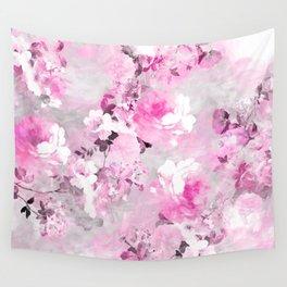 Purple grey floral watercolor romantic flowers pattern Wall Tapestry