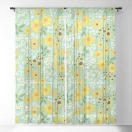 Yellow Flower Meadow Sheer Curtain