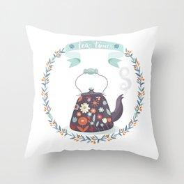 Tea Time Floral Tea Kettle Throw Pillow