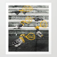 gangster Art Prints featuring Gangster Pigeons by Wonder of Wild