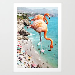 Flamingos on the Beach, Wildlife Surrealism Birds, Nature Flamingo Fantasy Beach Summer Photography Kunstdrucke