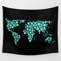 polkadot Wall Tapestries featuring World Map - Polkadot Atlas (Cyan) by Rothko