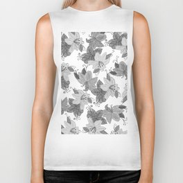 Black and white hand drawn watercolor floral Biker Tank