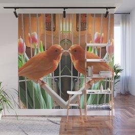 Orange bird reflexion Wall Mural