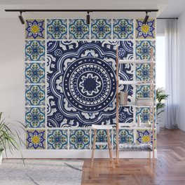 Talavera Mexican tile inspired bold design in blue and white Wall Mural