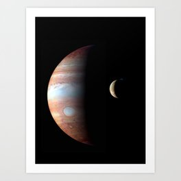 Jupiter and its Volcanic moon Io Deep Space Photograph Art Print