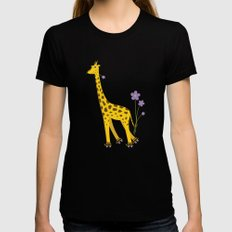 Yellow Funny Roller Skating Giraffe X-LARGE Black Womens Fitted Tee