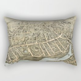 Vintage Pictorial Map of Norwalk Connecticut (1875) Rectangular Pillow