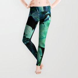 Tropical Leaf Dark Leggings