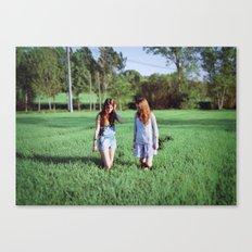 Girls in field Canvas Print