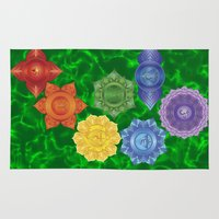 chakra Area & Throw Rugs featuring Heart Chakra  by Gypsy Owl Productions