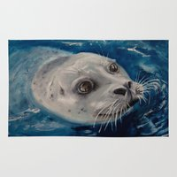 seal Area & Throw Rugs featuring Seal by Andrea Vreken Art