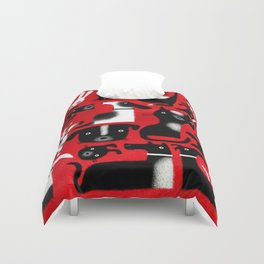 CRITTERS ON RED Duvet Cover