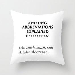 Stash, Stash, Knit Throw Pillow