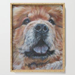 the chow chow dog portrait fine Art Dog Painting from an original painting by L.A.Shepard Serving Tray