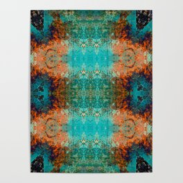 Distressed Southwestern Inspired Turquoise Pattern Design Poster