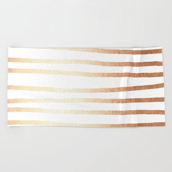 Simply Drawn Stripes Deep Bronze Amber Beach Towel