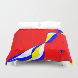 White, Blue and Yellow Stripes with Stars Duvet Cover