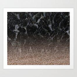 Glitter ombre - black marble & rose gold glitter Art Print