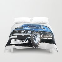 muscle Duvet Covers featuring american muscle  by Vector Art