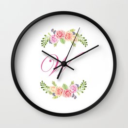 Floral Initial Letter W Wall Clock