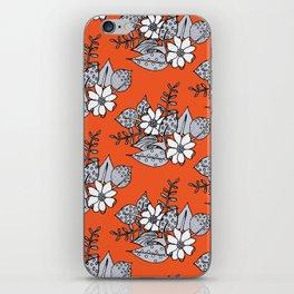 Orangey Gray Floral iPhone Skin