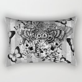 Lost and Found, floral owl with sugar skull Rectangular Pillow