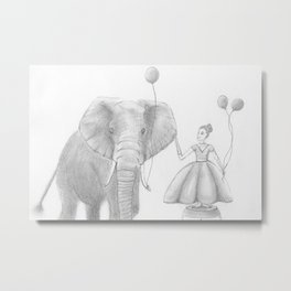 A girl and her elephant Metal Print
