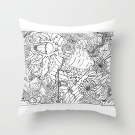 #2 Pencil Doodle (coloring page art) Throw Pillow