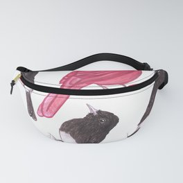Cardinals and black phoebe birds watercolor Fanny Pack