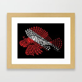 Tribal Scuba Flag Lionfish Framed Art Print