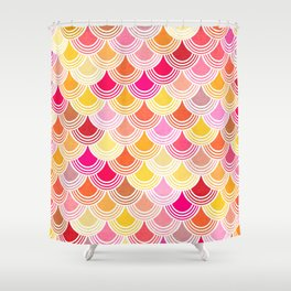 Bohemian Fish-scale Pattern - Hues of Warm Gold and Pink Shower Curtain