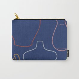 Indigo Pots 01 Modernist Line Drawing Carry-All Pouch
