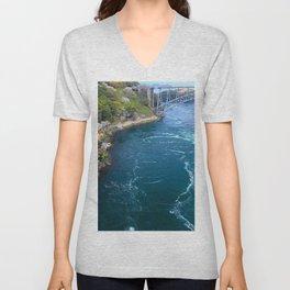 bridge sea from above embankment trees flowering current streams Unisex V-Neck