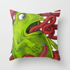 Frogs eat Insects Throw Pillow