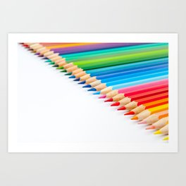 Color pencils in diagonal pattern on white background Art Print