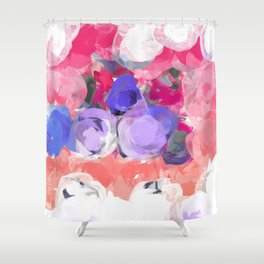 Flower Power in Pink, Purple, Peach and White Shower Curtain