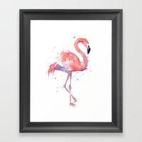 Pink Flamingo Watercolor | Tropical Animals Bird Flamingos Framed Art Print