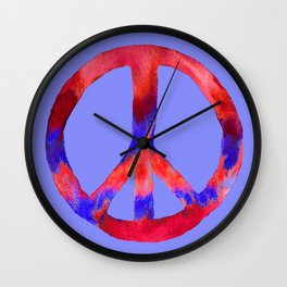 Patriotic Peace Sign Tie Dye Watercolor on Blue Wall Clock