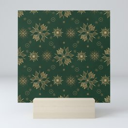 Elegant Gold Green Poinsettias Snowflakes Winter Design Mini Art Print