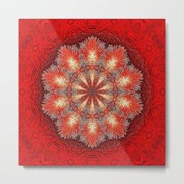 Red Vintage Flower Background Pattern Metal Print